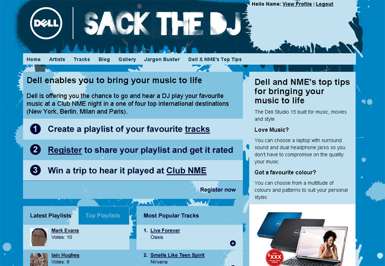 Dell Sack the DJ homepage in conjunction with the NME