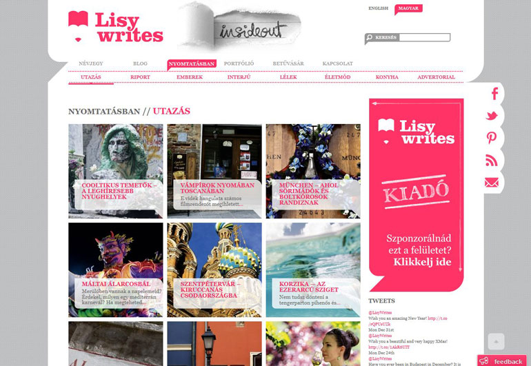 Lisy Writes features page